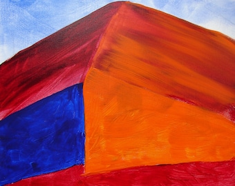 The Hill - Original Acrylic Painting on Canvas 16x20 - edges unpainted, stapled