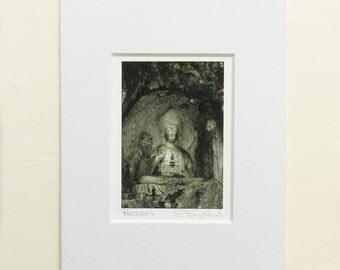 Miniature Art Matted 5x7, Buddha Photography, Asian Decor, Altar Art, Meditation Print, Green Buddhist Art, Buddha Wall Decor, Buddah Photo