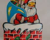 Vintage Santa Christmas card holder wall hanging