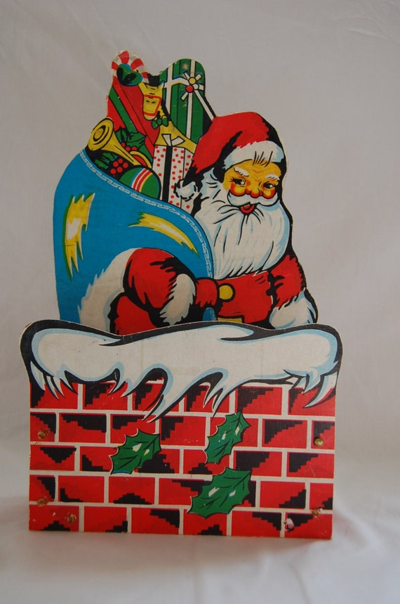 Wall Decor Card Holder : Vintage santa christmas card holder wall hanging
