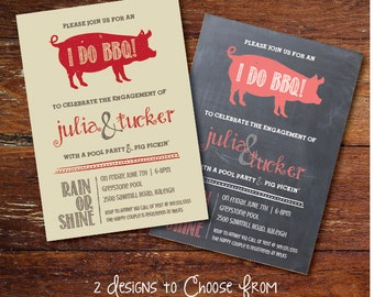 BBQ / Pig Pickin' Engagement party invitation (custom), DIGITAL or PRINTED