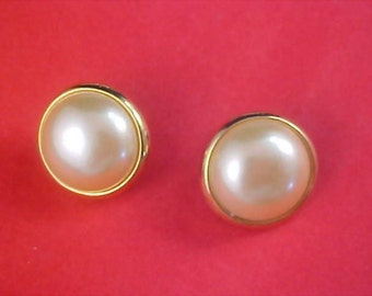 Free Ship ~ Signed ALLISON - Simulated Pearl Cabochon - Gold Plate Post Earrings