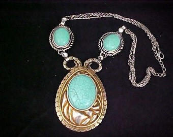Turquoise Glass Cabochons NATIVE AMERICAN Style Triple Chain Necklace