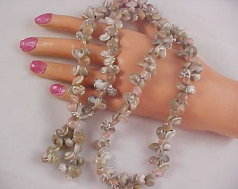 AUTHENTIC Variegated Triple Strung SEASHELLS Necklace ~ Many Double Colors
