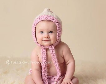 Knit Pixie Bonnet, Knitting Pattern Pdf, Pattern for sizes newborn,3 mos,6 mos, 9-12mos, instant pattern download available