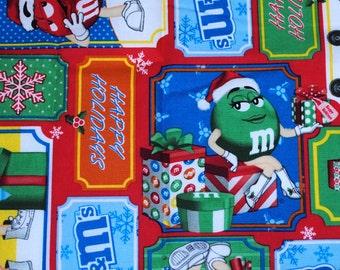 Fat Quarter Whimsical Bright  Cheerful M & M Christmas Fabric