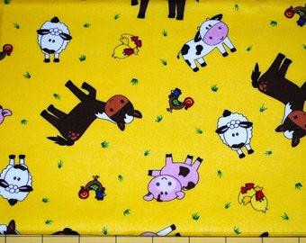 Fat Quarter Adorable Bright Farm Animals Fabric