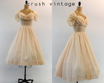 40s Dress Eyelet Lace XXS / 1940s Vintage Dress Broderie Anglaise  /  Emma Wedding Gown