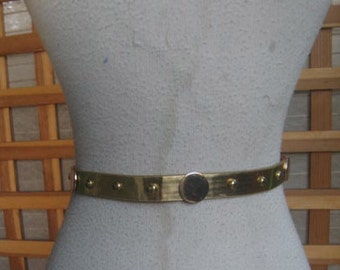 GOLD 50s 60s THIN STUD Belt 1950s Waist 30 to 35 Inches