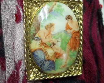 Vintage gold brooch,greek scenery cabochon brooch,rectangle brooch,gold plated brooch,greek cabochon brooch,costume parties,theater