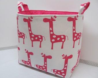 XL EXTRA LARGE Fabric Organizer Basket Storage Container Bag Bucket Toy Bin - Home Decor - Nursery - Kids Room - White/Pink Giraffes Canvas