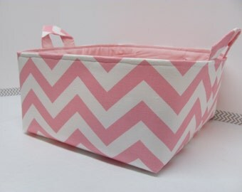 "Diaper Caddy - Fabric Storage Basket - 11""x11"" Organizer Bin - Storage box - Diaper Bag - Baby Gift - Nursery Decor - Pink Chevron Zigzag"