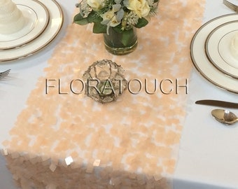 Peach Dazzle Square Sequin Table Runner Wedding Table Runner