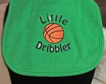 Embroidered Baby Bib- Little Dribbler- Basketball-GREEN
