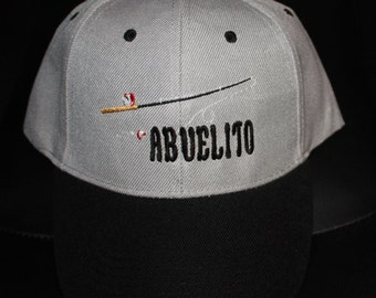 Abuelito Fishing Hat- Embroidered- Gray/Black-SALE