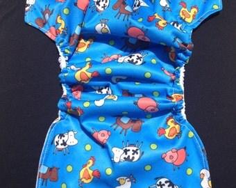 MamaBear BabyWear Waterproof Diaper Cover / Swim Diaper, Wrap One Size Fits All - Blue On The Farm