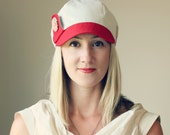 KEPP JONES ---x--- Women's newsboy styled hat made from reclaimed Trouser in 'Sailboat Red' - Small