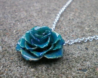 Free Shipping REAL Small Blue TEA ROSE Adjustable 18 inch Sterling Silver Chain Necklace