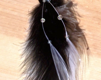 Black and White Feather Single Earring