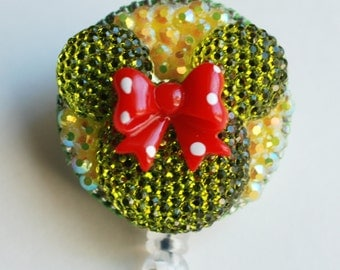 Minnie Mouse Green Shimmery Silhouette ID Badge Reel - RN ID Badge Holder - Zipperedheart