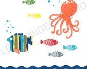 Target Circo FISH Collection Art Print, OCTOPUS Wall Art, Tropical FISH Bath Decor, Childrens Bath Art