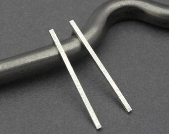 Long Rectangle Posts - Modern Minimalist Hammered Thin Rectangular Post Earrings