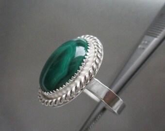 Malachite Sterling silver ring size 8.5