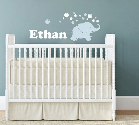 Elephant wall decal elephant blowing bubbles name wall for Above the crib decoration ideas