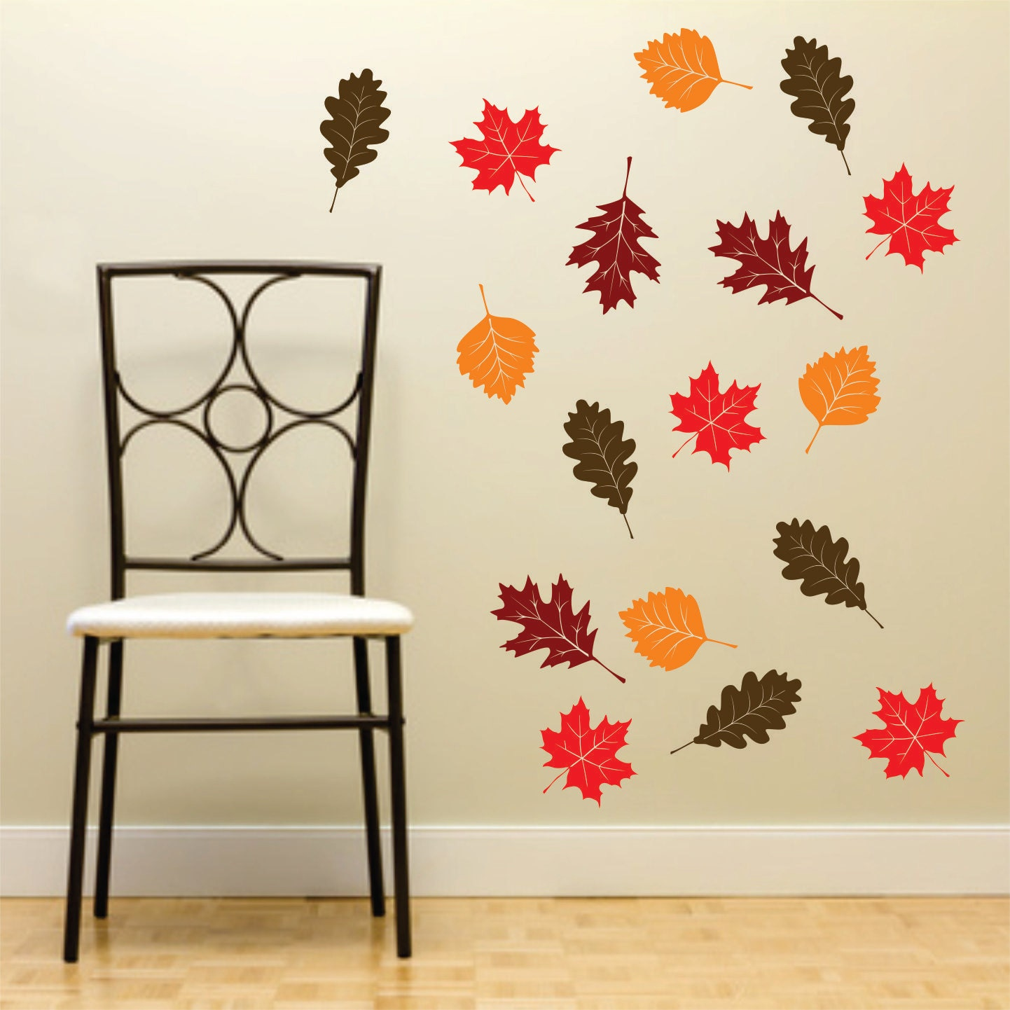Fall Leaf Wall Decals Set Of 20 Autumn Leaves Vinyl Rub On