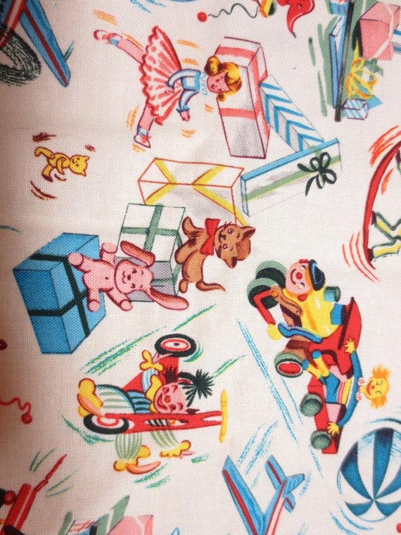 Retro design childrens baby fabric toys clowns mid century for Retro baby fabric