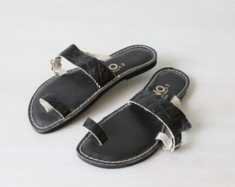 Vintage  Kino Sandals / Black Sandals /  Leather /  Size 9