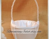 Custom Colors Pearl Handle Style Plain Satin Flower Girl Basket..BOGO Half Off..Decorate Your Own...You Choose The Colors..Shown in ivory