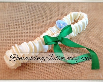 Simple Satin Bridal Garter with BONUS Something Blue..You Choose The Colors..shown in ivory/emerald green