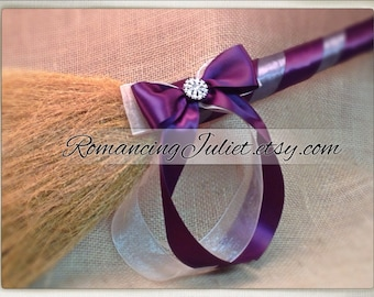 Classic Jump Broom Made in Your Custom Colors with Rhinestone Accent ..shown in charcoal gray/eggplant purple/ivory organza