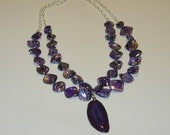 SALE ITEM.  Intensely purple agate pendant and shell 2 strand necklace