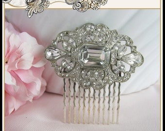 STUNNING Art Deco Rhinestone Hair Comb From Vintage Brooch Bridal Prom Christmas