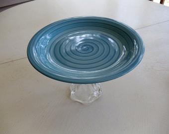 Aqua Repurposed Pedestal Cake Plate