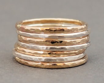 Sterling Silver and Gold Rings mixed metal stacking rings stackable rings