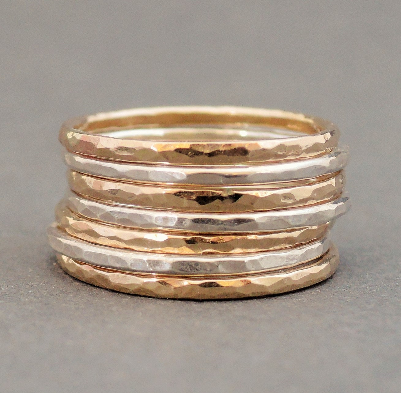 stacking ring set sterling silver and gold filled rings mixed. Black Bedroom Furniture Sets. Home Design Ideas