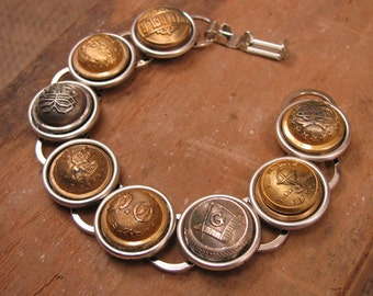 Button Jewelry - Upcycled Jewelry - Eight Collectible Button Bracelet - Military, Post Office, Railway, Masonic, Buttons - Mixed Metals
