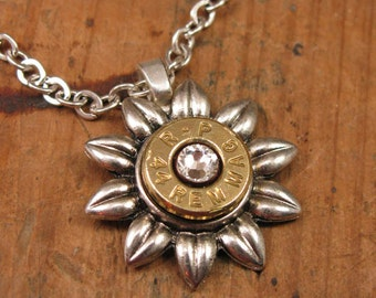 "Bullet Jewelry - ""Flower Power"" Collection - Mother's Day Flowers - Bullet Casing Necklace - Gun Jewelry - Bullet Pendant"