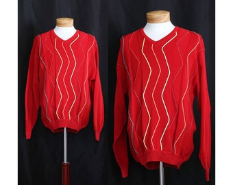 Vintage 80s Red A-Zig and A-Zag Sweater
