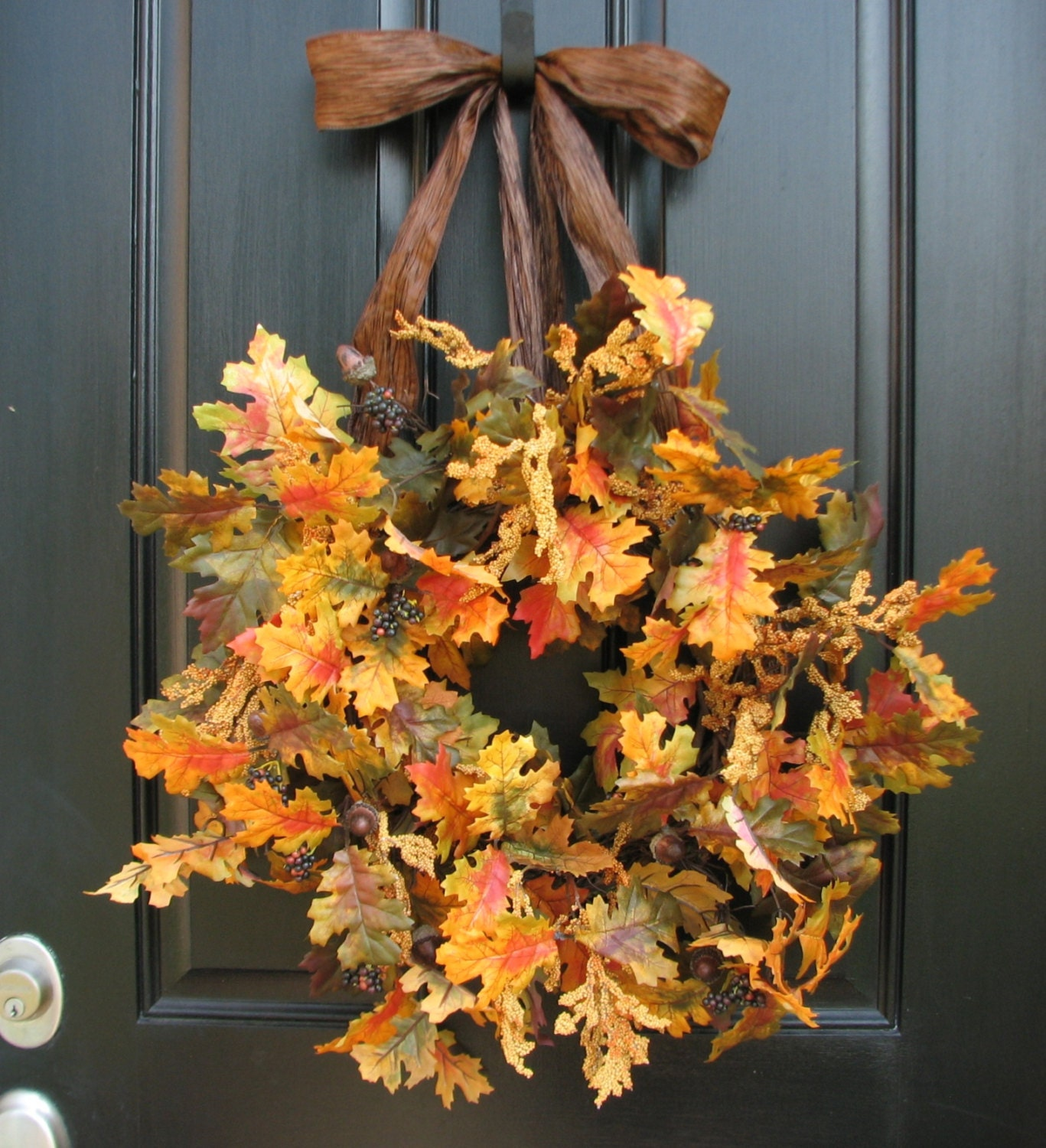 Faux fall wreaths wreath for fall front door faux by Fall autumn door wreaths