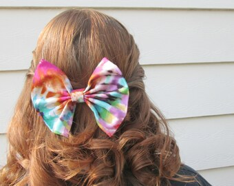 Summer Hipster Tie Dye Multi Colored Hair Bow