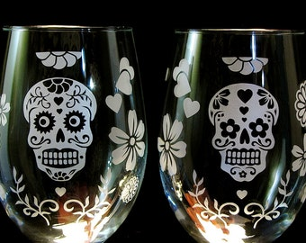 2 Calavera / Day of the Dead Stemless Wine Glasses,  Sugar Skull Wedding Glasses