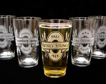 4 Personalized Groomsmen Beer Glasses, Personalized Beer Label, Craft Beer Lovers Gift, Present for Men