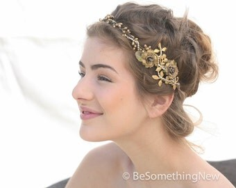 Rustic Wedding Gold Crown Bridal Hair Wedding Accessory Gold Leaf Rustic Wedding Headpiece Flower Crown Vintage Style Bridal headband