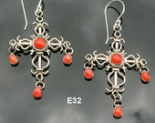 E32 Filigree Style Cross with Coral or Turquoise Sterling Silver Southwestern Native Style Earrings