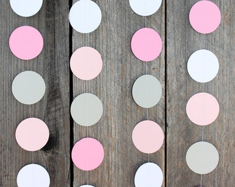 Dots Paper Garland - Baby girl, nursery decorations, baby shower gender reveal party