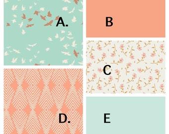 Peach And Mint Bird Crib Bedding Set